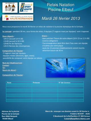 Relais Natation Piscine Elbeuf Mardi 26 février 2013