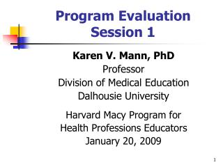 Program Evaluation Session 1