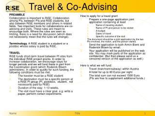 Travel & Co-Advising