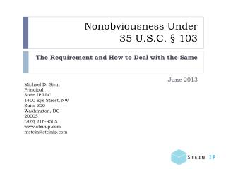 Nonobviousness  Under 35 U.S.C. § 103