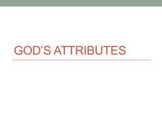 God�s Attributes