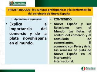 PRIMER BLOQUE: las culturas prehispánicas y la conformación del virreinato de  Nueva España .