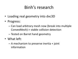 Binh's  research