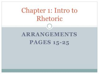 Chapter 1: Intro to Rhetoric