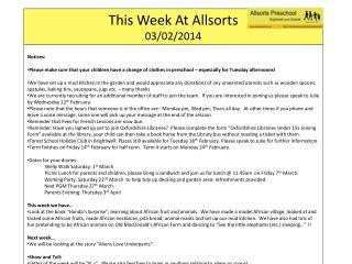 This Week At  Allsorts 03/02/2014