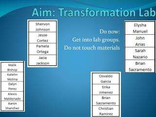 Aim: Transformation Lab