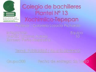 Colegio de bachilleres Plantel N° 13  Xochimilco- Tepepan
