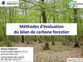 Méthodes d'évaluation  du bilan de carbone forestier
