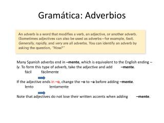 Gramática :  Adverbios