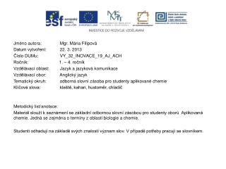 Jméno autora: Mgr. Mária Filipová Datum vytvoření: 22. 3. 2013