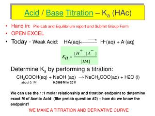 Acid  /  Base Titration  – K a  (HAc)