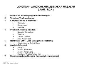 LANGKAH - LANGKAH ANALISIS AKAR MASALAH ( AAM / RCA )