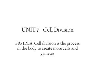 UNIT 7:  Cell Division