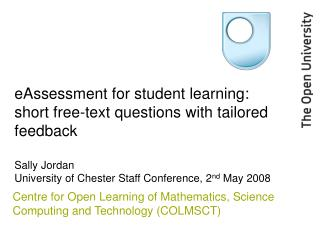 eAssessment for student learning: short free-text questions ...