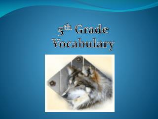 5 th  Grade Vocabulary