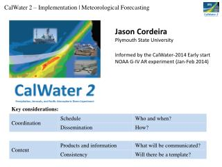 CalWater  2 – Implementation | Meteorological Forecasting