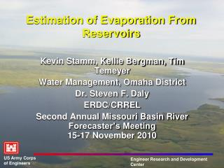 Estimation of Evaporation From Reservoirs