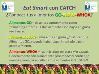 Eat Smart con CATCH ¿ Conoces tus alimentos  GO - SLOW - WHOA ?