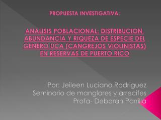 Por :  Jeileen Luciano  Rodriguez Seminario  de  manglares  y  arrecifes Profa - Deborah  Parrilla