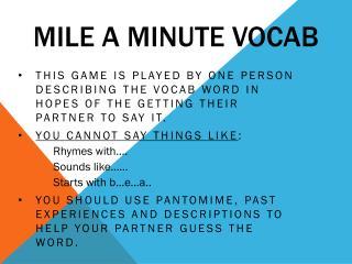 Mile a Minute Vocab