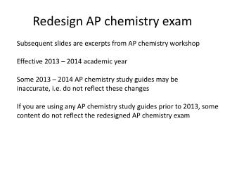 Redesign AP chemistry exam