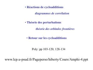 R actions de cycloadditions