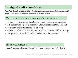 Le signal audio num