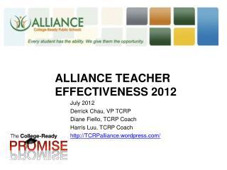 Alliance  Teacher effectiveness 2012
