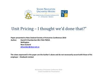 Unit Pricing – I thought we'd done that?""