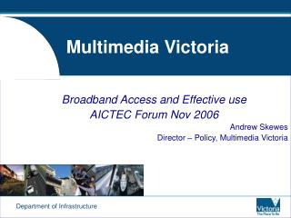 Department of Infrastructure Multimedia Victoria