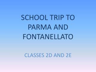 SCHOOL TRIP TO PARMA AND  FONTANELLATO