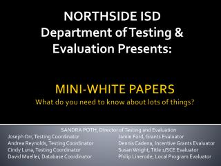 MINI-WHITE PAPERS What do you need to know about lots of things?
