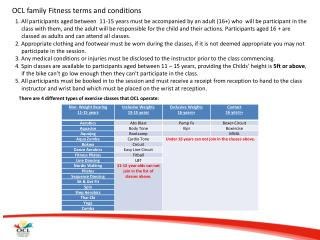 OCL family Fitness terms and  conditions