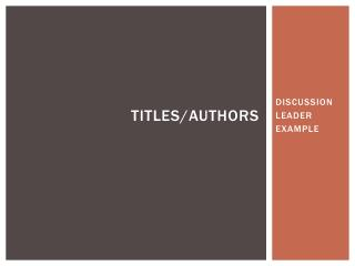 Titles/ authors