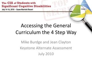 Accessing the General Curriculum the 4 Step Way