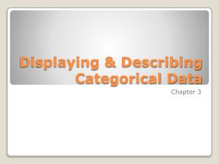 Displaying & Describing Categorical Data