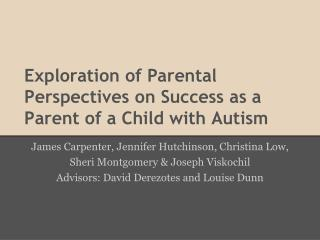 Exploration of Parental Perspectives on Success as a Parent of a Child with Autism