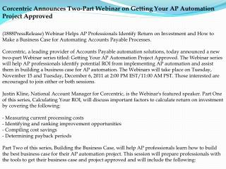 Corcentric Announces Two-Part Webinar on Getting Your AP Aut