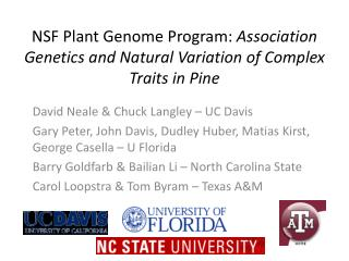 NSF Plant Genome Program:  Association Genetics and Natural Variation of Complex Traits in Pine