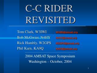 C-C RIDER  REVISITED