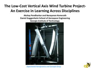 The Low-Cost Vertical Axis Wind Turbine Project- An Exercise in Learning Across Disciplines