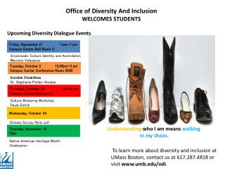 Upcoming Diversity Dialogue Events