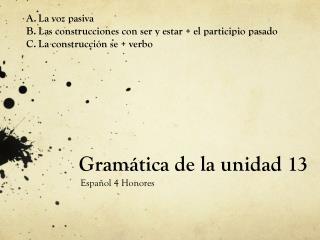 Gramática de la unidad 13