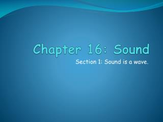 Chapter 16: Sound