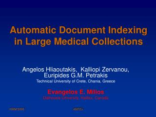 Automatic Document Indexing in Large Medical Collections