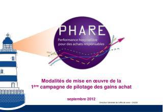 Modalités de mise en œuvre de la  1 ère  campagne de pilotage des gains achat septembre 2012