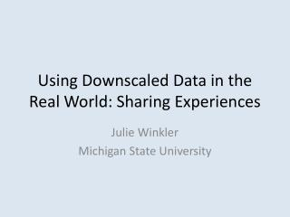 Using Downscaled Data in the Real World: Sharing Experiences