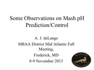 Some Observations on Mash pH Prediction/Control