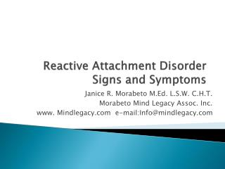 Reactive Attachment Disorder Signs and Symptoms