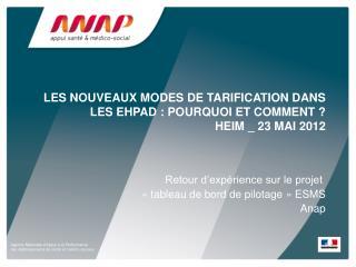 les nouveaux modes de tarification dans les EHPAD�: pourquoi et comment ? HEIM _ 23 mai 2012